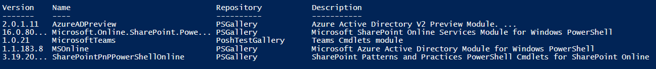 Texte de remplacement généré par une machine : Version 2.0.1.11 16. o. 80. 1.0.21 1.1.183.8 3. 19. 20... N ame Azu r eADP r evi ew Mi crosoft. Onli ne. Sharepoint. Powe... M i c rosoftTeams MSOn1 i ne Sharepoi n tpnppowershel Ion] i ne Repos i tory PSGa11 ery PSGa11 ery poshTestGa11ery PSGa11 ery PSGa11 ery Description Azure Active Di rectory V2 Preview Module. . Microsoft Sharepoint Online Services Module for Windows powershell Teams Cmdlets module Microsoft Azure Active Directory Module for Windows powershell Sharepoint Patterns and practices powershell Cmdlets for Sharepoint Onl ine